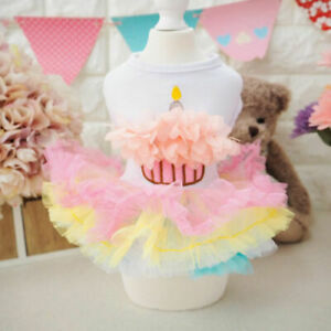 Pet Dog Birthday Cake Skirt Lace TUTU Skirt Small Dogs Dress Poodle Clothes
