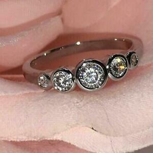 2.00 Ct Diamond 5 Stone Bezel Engagement Ring & Wedding Band 14K White Gold Over