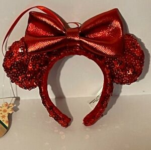 Disney Parks RED Minnie Mouse Ears Headband Xmas Ornament Holiday - New w/ Tags