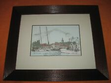 """Martin Barry Signed Etching of CITY DOCKS ANNAPOLIS, Framed,approx 12""""x10"""""""