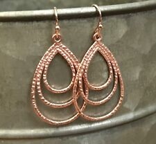 Min Favorit Rose Gold Pl Textured Teardrop Trio Pendant Artisan Drop Earrings