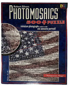 Robert Silvers Photomosaics American Flag Jigsaw Puzzle Facty Sealed 500 Pc New