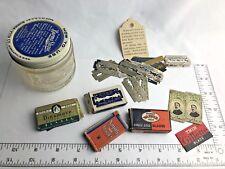 """VTG Lot Blades Burma-Shave Shaving Cream Glass Jar Hazel Atlas 2 3/4 """" Tall"""