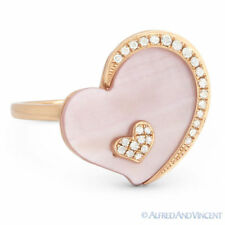 Right-Hand Ring in 14k Rose Gold 2.11ct Pink Mother-of-Pearl Diamond Heart Charm