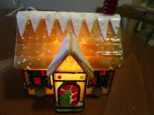 Vintage Stain Glass Lighted House Signed