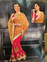 A36 Indian Saree Bollywood Party Diwali Sari Dress Material Yellow Pink Gold