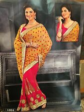 Indian Saree Bollywood Party Wear Diwali Sari Dress Material Yellow Pink Gold