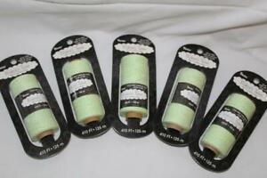 Baker's Twine~5 skein/spool lot~LIME GREEN/WHITE~100% cotton~410'X5~125m~Darice