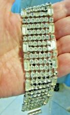 WOW STUNNING QUALITY VINTAGE WIDE RHINESTONE BRACELET WITH SAFETY CLASP