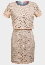 *New* Pink Soda Peach Floral Lace Layered Shift Dress ~ Size 8