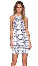 MINK PINK Bodycon HALTER Feast of LOVE Stripe BLUE FLORALS Shift DRESS White L