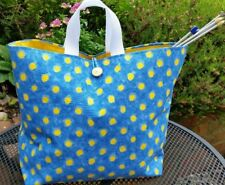 Small Knitting Bag in Designer's Guild, Blue +Yellow Spots, Gold Cotton Lining