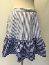 New J Crew Striped Ruffle Skirt White Lagoon Sz 6 G5310 Sold Out!