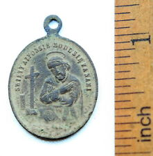 Ancient Bronze Medallion Pendant ''Saint Alphonsus''