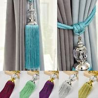 2PCS Curtain Holdbacks Rope Tie Backs Tassel Tiebacks Beaded Ball Decor 6COLORS