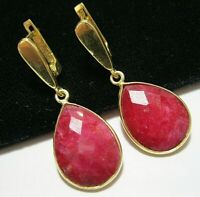 Beautiful Jewellery Sterling SILVER Natural Ruby 19.98cts Gem Stone EARRINGS