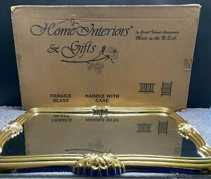 Vintage Home Interior Syroco Gold Gilt Frame Wall Hanging Mirror #1665 Ornate