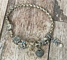 Pandora Silver Leather Bracelete W/6 ALE 925 Charms Authentic Disney Nautical