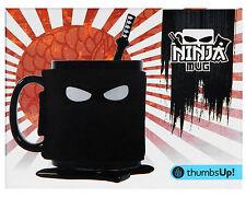 NINJA MUG with Samurai Spoon, Ninja Star Coaster and Removable Mask Cover