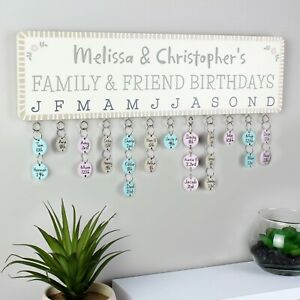 Personalised Birthday Planner Plaque with Customisable Discs Friends & Family