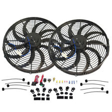 """Dual 16"""" Electric S-Blade Heavy Duty Cooling Radiator Fan & Thermostat Relay Kit"""