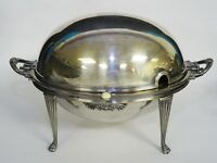 ANTIQUE c. 1903 WALKER & HALL SHEFFIELD 51895 SILVER PLATE ROLL TOP SERVING DISH
