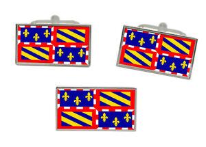 Burgundy (France) Flag Cufflink and Tie Pin Set