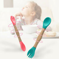 JP_ 1Pc Wooden Silicone Infant Baby Spoon Fork Safety Feeding Flatware Tablewa