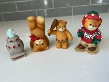 4 Vintage Enesco Lucy & Me Bears - Hand stand, Cave Man, Tea Pot, Winter Clothes