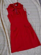 NWT NANETTE LEPORE Red Ruffle Trim FITTED SHIFT DRESS Size 6