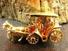 LARGE SOLID 14K GOLD HORSE & CARRIAGE CHARM w WORKING WHEELS!