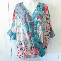 New Umgee Top 2X Blue Floral Animal Ruffle Sleeve Boho Peasant Plus Size