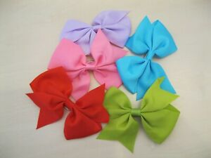 5pcs Girls Handmade Hair Crocodile Clip Bow Kids Slides