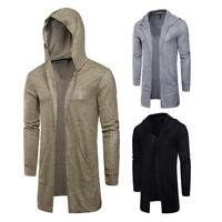 Fashion Men Trench Hoodie Coat Jacket Knitted Hooded Peacoat Long Overcoat Tops