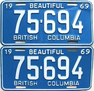1969 British Columbia Automobile Car license plates pair # 75-694