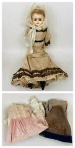 Antique Mid 19thC Composition Paper Mache Head Doll Glass Eyes Period Clothing