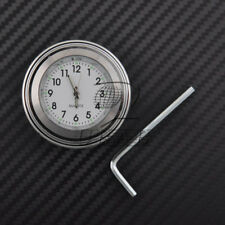 "7/8"" 1"" Motor Chrome Waterproof White Handlebar Clock Glow Watch For Harley Dyna"