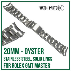 ♛ 20mm Oyster Stainless Steel Bracelet Watch Strap For ROLEX GMT Master Models ♛