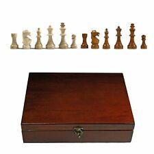 English Staunton Tournament Chess Pieces in Wooden Box