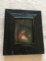 """Antique Colored Etching Titled """"A Toper"""" Dutchman Drinking Ale Wine Rustic Frame"""