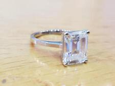 3.00 Ct Emerald Cut Diamond Engagement Ring Hallmarked 14K White Gold Size M N O