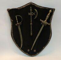 Vtg Italian Ornate Miniature Swords Letter Opener Set Display MOD DEP Woman Hilt