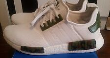 NEW ADIDAS NMD WHITE CUSTOM ARMY GREEN CAMOUFLAGE - DS - ONE OF A KIND - SZ 12