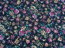"""Black Multi Floral Medallion Brocade Drapery Fabric 54"""" Wide Sold By The Yard"""