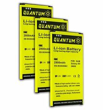 3X Quantum 2,800mAh High Capacity Batteries for the Galaxy S5, 12 Month Warranty