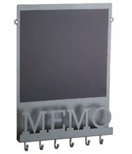 MAGNETIC Chalk MEMO Notice BLACK BOARD Letter Rack Holder Key Hooks GREY