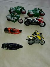 """Die Cast Lot Of 7, 3To 4"""" Motorcycles. Hess.mattel. And Maist. Good Cond"""