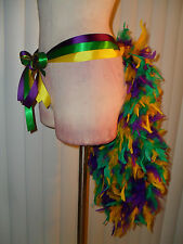 Deluxe Tutu Samba Showgirl Belt Ribbon Feather Tail Bustle Costume MEDIUM