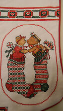 Handmade Cross Stitch Stocking CHRISTMAS KISSES Bears Personalized - JCA New