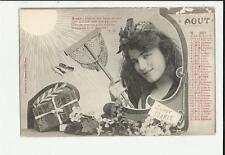 cartolina calendario mese agosto aout   1904 parte alta leggermente rovinata
